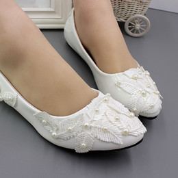 Chinese  Flat white bridesmaids perform shoesrubber handmade wedding shoes bride take pictures flat shoes single shoes female BH154 manufacturers
