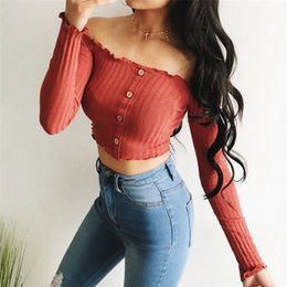 $enCountryForm.capitalKeyWord Australia - Women Trendy Clothes Solid Casual Off Shoulder Button Pullover Blouses Long Sleeve Cotton Shirts One Pieces