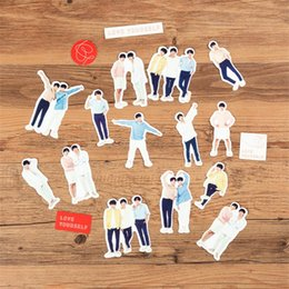 Cute Phone Stickers Australia - Kpop BTS Love Yourself Program Adhesive Photo Sticker for Scrapbook Luggage Laptop Phone Bangtan Boys Cute DIY Stickers 18pcs