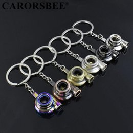 Wholesale Real Whistle Sound Turbo Keychain Sleeve Bearing Spinning Auto Part Model Turbine Turbocharger Key Chain Ring Keyfob Keyring