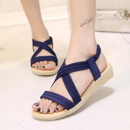 Discount comfortable ladies sandals - Women sandals 2019 hot Bohemia female summer sandals women comfortable flip flops shoes elastic band Ladies Flat Shoes
