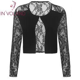 Long Sleeve Black Bolero Shrug Australia - Plus Lace O and Size Eye Shrug  Autumn Coat 3b42695af