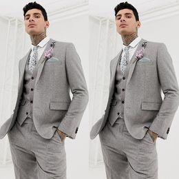Tweed Suits Blazers Australia - Harry Grey Wedding Tuxedos Wool Blend Slim Fit Summer Tweed Groom Wear Pants Suits Two Button Blazer Jacket 3 Pieces
