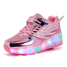 Wheel boys shoes online shopping - 2019 Girls LED Light up Glowing Sneakers with Wheels Children Sport Shoes For Kids Boys GirlsMX190917