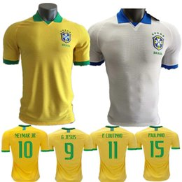 bb235655eba 2020 player version Brazil soccer jersey home away Marcelo PELE OSCAR  D.COSTA DAVID LUIZ top quality football soccer shirt