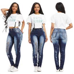 04b6a4b6a63c5 Разрушенные узкие джинсовые джинсы Женские рваные брюки-карандаш с высокой  талией Тонкие брюки Женские женские платья Hole Jean