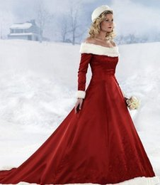 White red beach Wedding dresses online shopping - Long Sleeve Red Christmas Dresses Hot New Winter Fur Warm A line Wedding Bride Dresses Off shoulder Satin Floor Length plus size