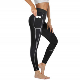 Wholesale sauna pants women resale online - 2019 Women Sauna Weight Loss Slimming Pants Workout Neoprene Pants Side Pocket Heat Thermo Sweat Legging casual trousers clothes Y200418