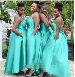 Asymmetrical Dresses Cheap Australia - Elegant Turq African Cheap bridesmaid Dress Plus size strapless With Pockets Asymmetrical Cheap Bridesmaid Prom Evening Party Dresses