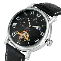 Unique Watches For Men Australia - Unique Tourbillon Skeleton Automatic Mechanical Watches for Male Black Leather Strap Watch for Men Classic Roman Numerals Dial Wristwatch