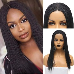 Discount lace front micro braid wigs AIMEYA Middle Part Black Micro Braids Synthetic Lace Front Wigs for Black Women Heat Resistant 2x Twist Braided Hair Wig