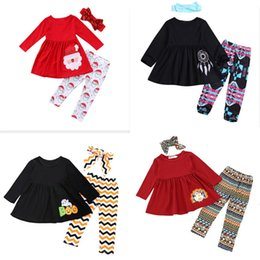 $enCountryForm.capitalKeyWord Australia - Factory Direct Children's Autumn and Winter Long Sleeves Cothing Printed pants Girl Suit Shirt + Pants + Headwear
