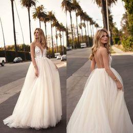 Wholesale 2019 Berta Wedding Dresses Boho Beautiful Spaghetti Straps A-line Sleeveless Lace Appliques Backless Plus Size Wedding Bridal Gowns