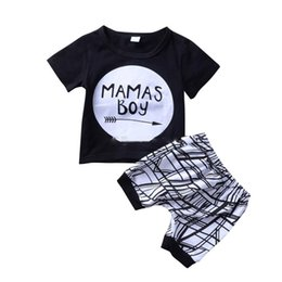 BaBies mama cartoon online shopping - Kids Clothing Sets Summer Baby Clothes Cartoon Mamas boy letter Print Outfits Toddler Fashion T shirt geometric Shorts Children Suits