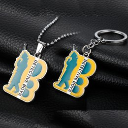 chains anime Australia - Classic Anime Jewelry Detective Conan Boy Communication Pendant Necklace Keychian Bead Chain Dog Tag Llaveros Fans Gift-30