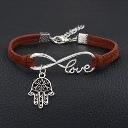 Browning Pendants Australia - Wholesale Brown Leather Suede Bracelet For Men Women Braided Infinity Love Hand Palm Pendants Bracelet & Bangles Wrap Vintage Casual Jewelry