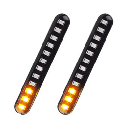 License pLate Lights online shopping - LED Turn Signals Strip Motorcycle Flowing Water Tail Brake Lights LED SMD License Plate Light Blinker Stop Flicker