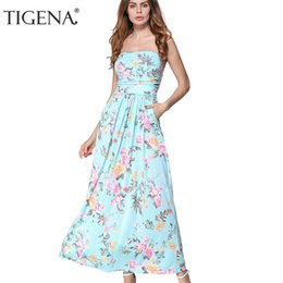 7e0f230365b Tigena Strapless Off Shoulder Long Maxi Sundress Women Summer Tunic Boho  Beach Dress Robe Femme Q190508