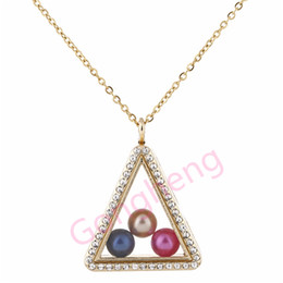 Gold caGe charm online shopping - G1254 Pearl Beads Cage Gold Triangle With Rhinestone Magnetic Glass Floating Locket Pendants Women Charms Necklace