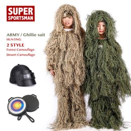 $enCountryForm.capitalKeyWord Australia - Children Jungle Mens Ghillie Suit Boy Camouflage Sniper Hunting Clothes Kids Girl Woodland Tactical Uniform Army Combat Clothing