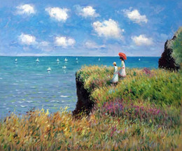 Figure Walk Australia - Cliff Walk at Pourville By Claude Monet High Quality Handpainted & HD Print Abstract Art Oil Painting On Canvas Wall Art Home Office Deco