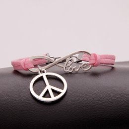 $enCountryForm.capitalKeyWord NZ - 2018 Fashion Vintage Multilayer Pink Leather Bracelets Boho Statement Infinity Love Peace Sign Bracelet Bangles For Women Men Summer Jewelry