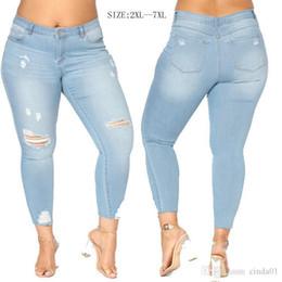7ad95f028e1 Fat Women Denim Jeans Wash Broken Trousers Pop Sexy Slim Jeans For Woman  Eur US Size Women Pants
