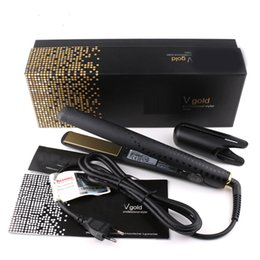 gold hair straightener NZ - V Gold Professional Hair Straightener EU plug with retail box DHL fast ship In stock Hair Styling Tools Hair Care