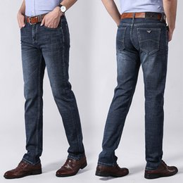 Patches Trousers Australia - Hot Sale Mens Brand Designer Jeans elastic Straight Slim Cowboy Famous Washed Destroyed Patches Ripped jeans Casual Trousers