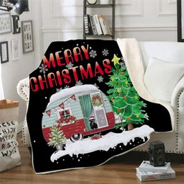 merry christmas bedding Canada - Merry Christmas Blanket Rectangle Plush Throw Blankets Fleece Cloaks Kids Bedding Sheet Cover Thickening Mantle Bedspread 8style GGA2590
