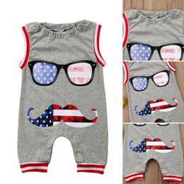 wholesale kids rompers suits NZ - 2018 Summer New Kids Baby Grey Beard Rompers Baby Boys Sleevless Glass Jumpsuit Romper Gentleman Suit One-Pieces Clothes Outfits