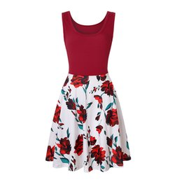 ef595c9dab5a 2019 Amazon hot color printing dress European and American women s Casual Dresses  summer sleeveless round collar swagger dress