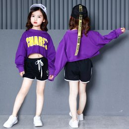 Belly T Shirts Australia - Girls Hip Hop Clothes Dance Costumes Purple Loose Crop Top T Shirt Ballroom Dancing Shorts Modern Show Stage Clothing Streetwear