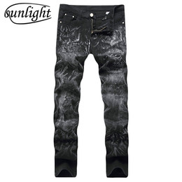 Skull print pantS for men online shopping - High Quality Mens Jeans Blue Printed Jeans For Men Skull Ripped Fashion Slim Straight Casual Hiphop Biker Male Pants