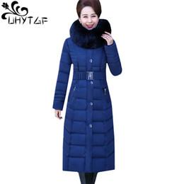 $enCountryForm.capitalKeyWord NZ - UHYTGF New Oversized Parker Women Thick Winter Outerwear Fur collar Hooded long down jacket Warm Coat Belt Slim Cotton Coat 1060