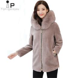 Hoodies Zippers Hood Australia - Winter Women Short Hoodies Fox Fur Collar Coat Korean Plus Size Warm Black Outerwear Womens Overcoat Faux Fur Jacket Coat 3XL