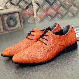 Shoes Green Color Australia - Fashion Color Male Formal Shoes Orange Red Green Low Top Lace Up Leather Dress Shoes for Men
