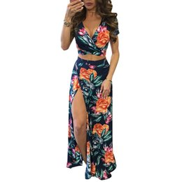 093e6256879bc New Elegant Women Summer Long Maxi Dresses Two Piece Set Sexy 2017 Hollow  Out Crop Top Skirts Floral Print 2 Piece Suits