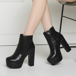 $enCountryForm.capitalKeyWord Australia - Women's High Heels Ankle Boots Platform Winter Block Heel Short Boots White Black Blue Brown Woman 2019 Zipper