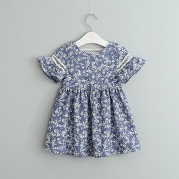 BaBy cloth short sleeve online shopping - Retail Girls Cotton Floral Printed Dress Kids Flare Sleeve Blue white porcelain Dresses Baby Back Lace Hollow Skirt Clothing design Cloth