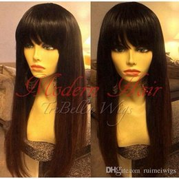 black straight full wigs bangs 2019 - Silky Straight full lace virgin hair wigs for black women none lace wigs synthetic glueless lace front hair wigs with ba