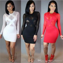 $enCountryForm.capitalKeyWord Australia - Spring Summer Long Sleeve Dress Nice Bandage Women Sexy Night Club Hollow Out Dresses Black Red White