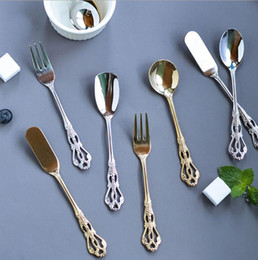 cream handled knives 2019 - Retro hollowed-out handle flatware 304 stainless steel coffee spoon fruit fork butter knife dessert scoops ice cream sco