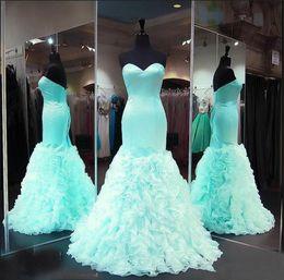 $enCountryForm.capitalKeyWord Australia - Sweetheart Satin Ruffles Organza Formal Prom Gowns Seniors Evening Dresses Custom Made Mint Mermaid Prom Dresses