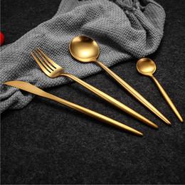 $enCountryForm.capitalKeyWord Australia - Hot Sale 4 Pcs set Pure Gold European Dinnerware Knife 304 Stainless Steel Western Cutlery Kitchen Food Tableware Dinner Set Q190605