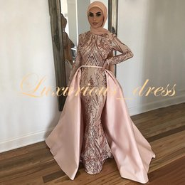 Gold Sequined Mermaid Australia - Rose Gold Sequined Mermaid Muslim Evening Gowns with Detachable Train Long Sleeves Arabic Pink Dubai Formal Prom Dresses 2019
