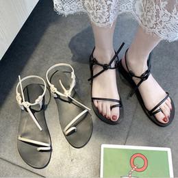 Flat Shoes Sandals For Women Australia - 1 Pair Women Vintage Sandals PU Anti-slip Wear-resistant Simple Flat Shoes for Summer KA-BEST