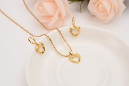 14k solid gold pendants online shopping - Dubai India Ethiopian Solid Gold Finish love Hollow heart set Jewelrysets women Pendant Chain Earrings African Bride Bijoux