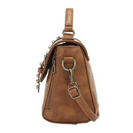 locking cream UK - Women Handbag Fashion PU Bags Rivet Handbag Vintage Leather Shoulder Bag Crossbody Bags for Women 2018