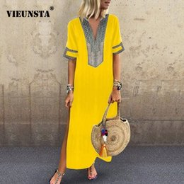 Wholesale pink summer maxi dresses for sale – plus size VIEUNSTA Women Vintage Print Dress Sexy V neck Short Sleeve Split Maxi Dress Plus Size Casual Summer Beach Long Dress Femme T190608